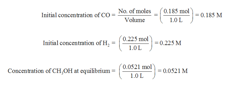 0.185 mol No. of moles 0,185 M Initial concentration of CO Volume 1.0 L 0.225 mol Initial concentration of H 0.225 M 1.0 L 0.0521 mol Concentration of CH OH at equilibrium 0.0521 M 1.0 L