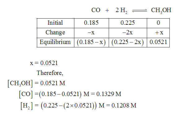 СО + 2 Н, CH,ОН Initial 0.185 0.225 0 Change -2x x -X Equilibrium 0.185-x)(0.225 - 2x) 0.0521 x = 0.0521 Therefore, [сH,оН] — 0.0521 м CO(0.185-0.0521) M 0.1329 M [H2] (0.225-(2x0.0521)) M 0.1208 M