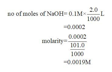 2.0 no of moles of NaOH= 0.1Mx- L 1000 -0.0002 0.0002 molarity 101.0 1000 -0.0019M
