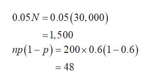 0.05N 0.05(30,000) 1,500 np(1-p)- 200x 0.6(1-0.6) =48