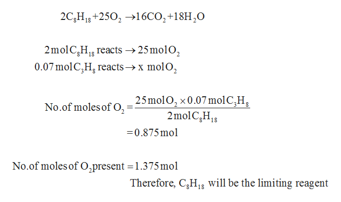 2C,H+250216CO2+18H,0 2molC,H reacts ->25mol02 18 0.07molC,H reacts»x molO2 25molO2 x0.07 mol C,H 2mol C,H18 No.of moles of O2 0.875mol No.of moles of O,present =1.375mol Therefore, C3H18 will be the limiting reagent