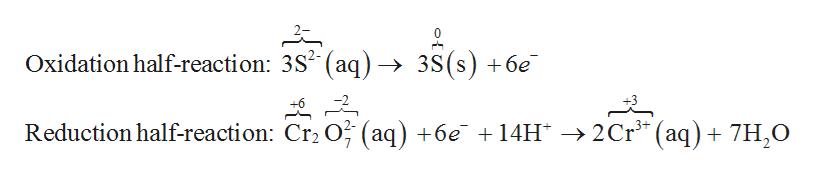 Oxidation half-reaction: 3S2 (aq) -» 3S(s) +6e Reduction half-reaction: Cr2 O (aq) +6e 14H ->2Cr (aq) 7H,O