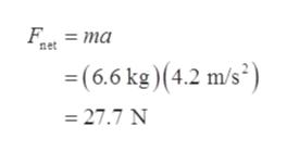 Е. - та net =(6.6 kg) (4.2 m/s2) 27.7 N