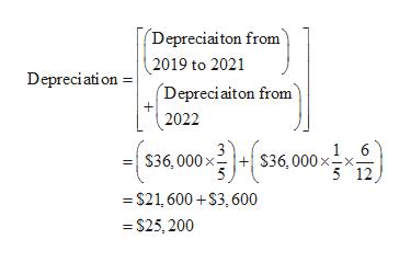 Depreciaiton from 2019 to 2021 Depreciation Depreciaiton from + 2022 6 S36,000 x $36,000 xx- 5 12 =S21,600+$3,600 =S25,200