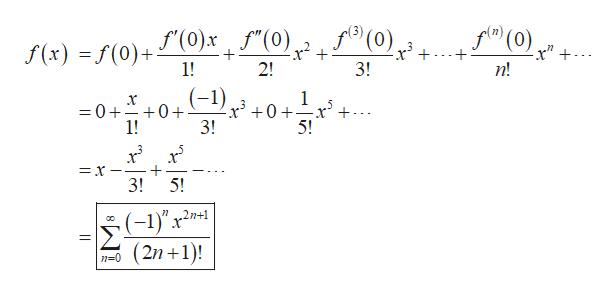"(0)+ f(x) f(0)+()xf""(0)f0) (0) 1! 2! 3! п! (-1) x0 1 5 =0+ +0+ 1! 3! 5! = x 3! 5! (-1)""x2 O(2n 1)! 2n+1"