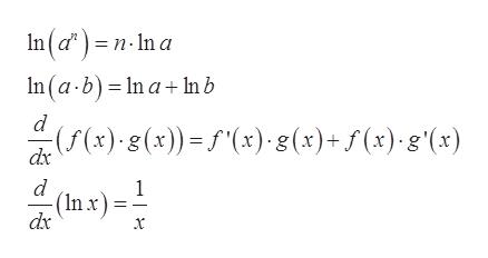 "In(d)=n-In a n(a-b) In a+In b (f(x) g(x))=f""(x) 8(x)+f(x).g'(x) dx d (Inx) dx 1"