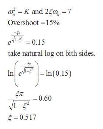 K and 250, =7 Overshoot 15% =0.15 take natural log on bith sides ev- In(0.15) n ET 0.60 0.517