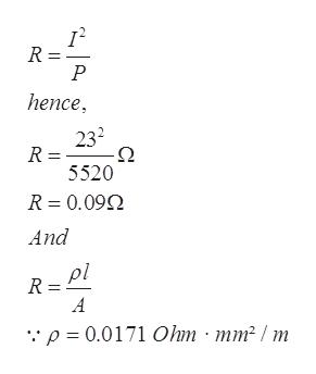 "R = Р hence, 232 Ω R = 5520 R 0.09 And pl R A ""p = 0.0171 Ohm mm2 / m"