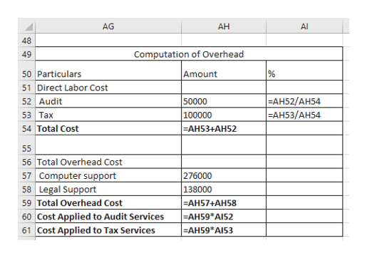 AG АН Al 48 49 Computation of Overhead  Amount 50 Particulars % 51 Direct Labor Cost 52 Audit 53  Таx 54 Total Cost  EАH52/АH54 EАH53/АH54 50000 100000  EАHН53+АН52 55 56 Total Overhead Cost 57 Computer support 58 Legal Support 59 Total Overhead Cost 60 Cost Applied to Audit Services 61 Cost Applied to Tax Services 276000 138000 EАH57+АH58 AH59* A152 -AH59*AI53