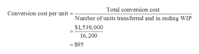 Total conversion cost Conversion cost per unit ; Number of units transferred and in ending WIP $1,539,000 16,200 $95