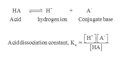 """А' н"""" НА Acid hydrogenion Conjugate base [H A [Н] Aciddissociation constant, K a +"""