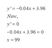 y'=-0.04x3.96 Now y'= 0 -0.04x+3.96 = 0 x = 99