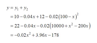 10-0.04x+12-0.02 (100-x) 22-0.04x-0.02(10000+x2 - 200x) =-0.02x23.96x-178