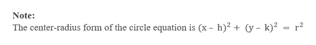 Note The center-radius form of the circle equation is (x - h)2 + (y - k)2 = r2