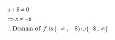 x +8 0 x #-8 . Domain of f is (-0,-8)U(-8, 0)