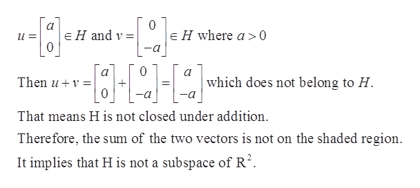 0 E H where a>0 E H and v = 0 a 0 а which does not belong to H Then u 0 -a That means H is not closed under addition Therefore, the sum of the two vectors is not on the shaded region It implies that H is not a subspace of R2.