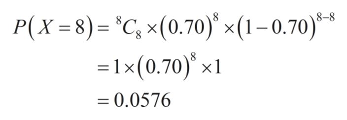 P(X=8)= C, x(0.70) x(1-0.70) =1x(0.70) x1 * 8 0.0576 ==