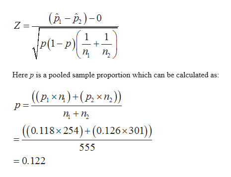(р - Р.) -0 Z = 1 1 1-p) п п, Here p is a pooled sample proportion which can be calculated as: ((Р. хп)+(р, хт)) п +п, ((0.118x254)+(0.126x301)) 555 = 0.122