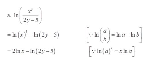 a. In 2y-5 In (x-In(2y-5) In In a - In b b In (a)xn a 2 In x -n(2y-5)