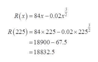R(x)84x-0.02r R(225) 84x 225-0.02x 225 18900- 67.5 18832.5