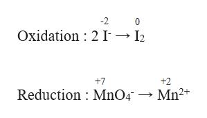 -2 0 Oxidation 2 I -- I2 +2 +7 Reduction MnO4 Mn2
