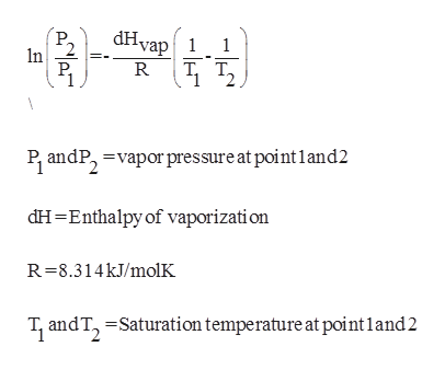 dHvap1 1 In Т. т, T. P andP, vapor pressure at point land2 dH-Enthalpy of vaporizati on R-8.314kJ/molK T and T, Saturation temperature at pointland2