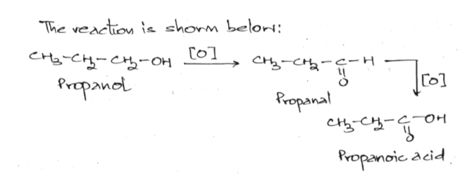 The veaction is shorm belori: CHE-CC-OH Propaind Rropanal CHC OH Propanoic acid
