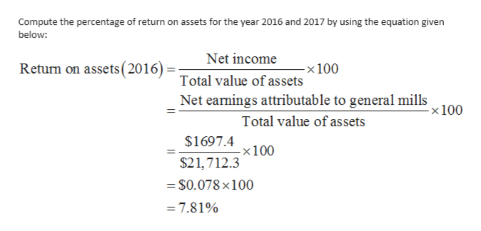 on assets for the year 2016 and 2017 by using the equation given Compute the percentage of return below: Net income Return on assets (2010)Total value of assets -x 100 Net earnings attributable to general mills -x 100 Total value of assets $1697.4x100 $21,712.3 = S0.078 x100 = 7.81%