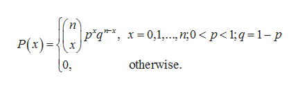 p*q*, x=0,1..,n;0 < p< 1;q = 1-p P(x) otherwise 0,
