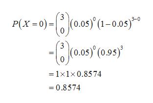 P(x-0)-(0.0s(-003 0.05) (0.95' 1x1x 0.8574 0.8574