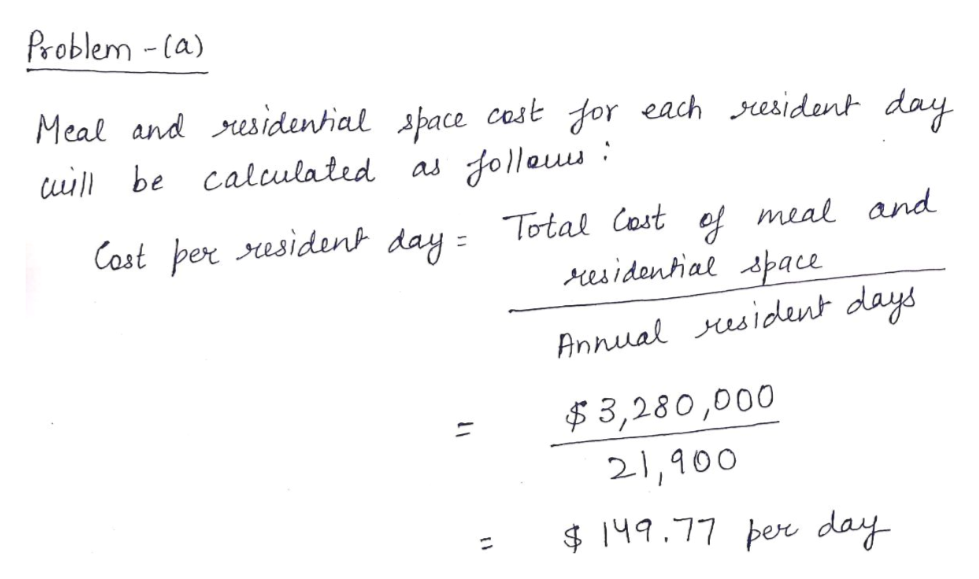 Problem -la) Meal and residential space cost dor each resident day uill be calulated Jollau as Cost per esident day = Total Cost ef meal and residantial space Annual resident days $3,280,000 21,900 149.77 per day