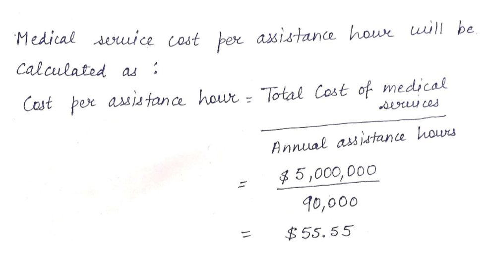 Medical deuuice cost ber asistance howe uill be Calculated as Cast per asis tance howr Total Cost of medical seocu ces Annual assidtance hours 5,000, 000 90,000 55. 55
