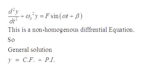 dy 'y=Fsin (t+ ) dt This is a non-homogenous diffrential Equation So General solution y C.F. P.1