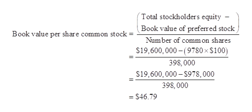 Total stockholders equity Book value of preferred stock Book value per share common stock Number of common shares $19,600, 000-(9780 x $100) 398, 000 $19,600,000-$978,000 398, 000 = $46.79