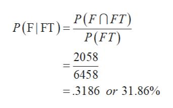 P(FOFT) P(FT) P(F|FT) 2058 6458 =.3186 or 31.86%