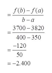 f(b)-f(a) b -а 3700 3820 400 350 -120 50 -2.400