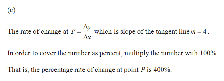 (c) The rate of change at P= ^V which is slope of the tangent line m = 4 Ax In order to cover the number as percent, multiply the number with 100% That is, the percentage rate of change at point P is 400%