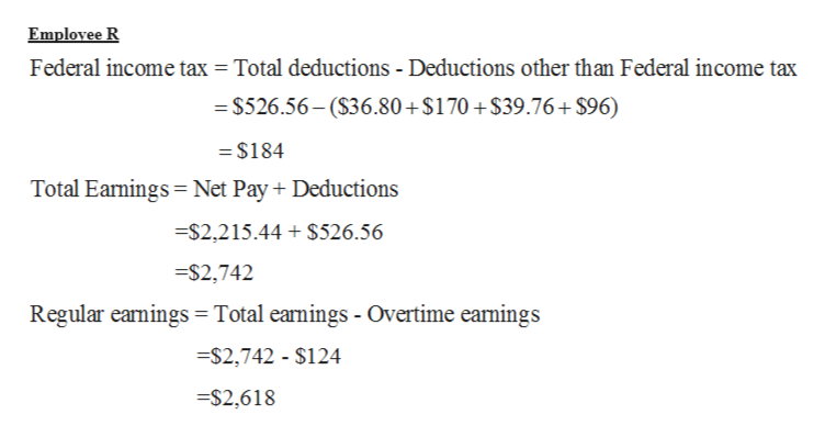 Emplovee R Federal income tax = Total deductions - Deductions other than Federal income tax = $526.56-(S36.80+ $170 +$39.76+ $96) =$184 Total Earmings Net Pay Deductions $2,215.44 $526.56 =$2,742 Regular earnings =Total earnings - Overtime earnings $2,742 - $124 $2,618