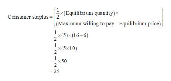 x(Equilibrium quantity)x (Maximum willing to pay- Equilibrium price) Consumer surplus =2 극x(5)x(16-6) (5x =Ex50 -25