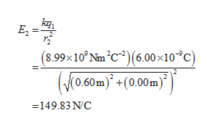 kqr E2 (8.99x10° Nm C2)(6.00 x10C) (0.60m)(0.00m) =149.83 N C
