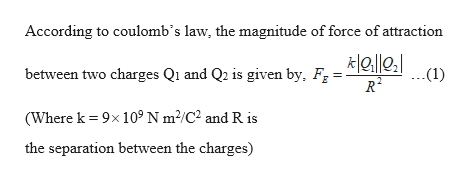 According to coulomb's law, the magnitude of force of attraction between two charges Qi and Q2 is given by, F -Gi 2 (1) R2 (Where k 9x 10° N m2/C2 and R is the separation between the charges)