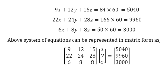 9x 12y15z 5040 84 х 60 22x 24y 28z = 166 x 60 9960 50 x 60 3000 бх + 8y + 82 Above system of equations can be represented in matrix form as, 12 151 x [50401 9960 [3000 9 22 24 28y 8 Z