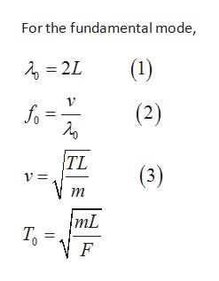 For the fundamental mode, (1) 2L (2) fo TL (3) т mL Т, F