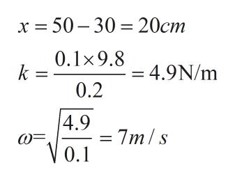 x 50-30 20cm 0.1x9.8 = 4.9N/m 0.2 4.9 7m/s V0.1