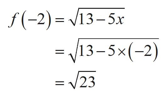 f(-2) 13-5x 13-5x(-2) = 23