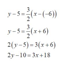 3 y5=(x(-6) 3 y5=(x+6 2 2(y-5) 3(x+6) 2y -10 3x18