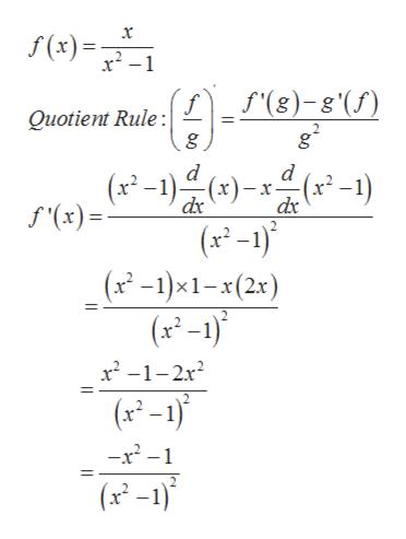 f(x) f'(8)-8'() Quotient Rule: g d d (x-1) () ) f'(x) (x-1) (x -1)x1-x(2x) (x-1) x2 -1-2x2 (x-1 -x2- (x-1)