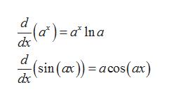 (a*)= a*Ina dx (sin (ax)) acos(ax) dx