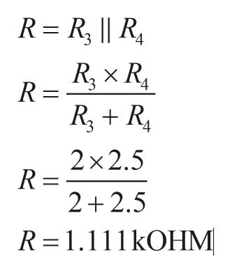 R R,    R R R RR 2x2.5 R = 2 2.5 R 1.111kOHM