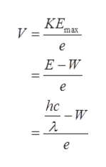 КЕ. max V =- е Е-W е hc -W е